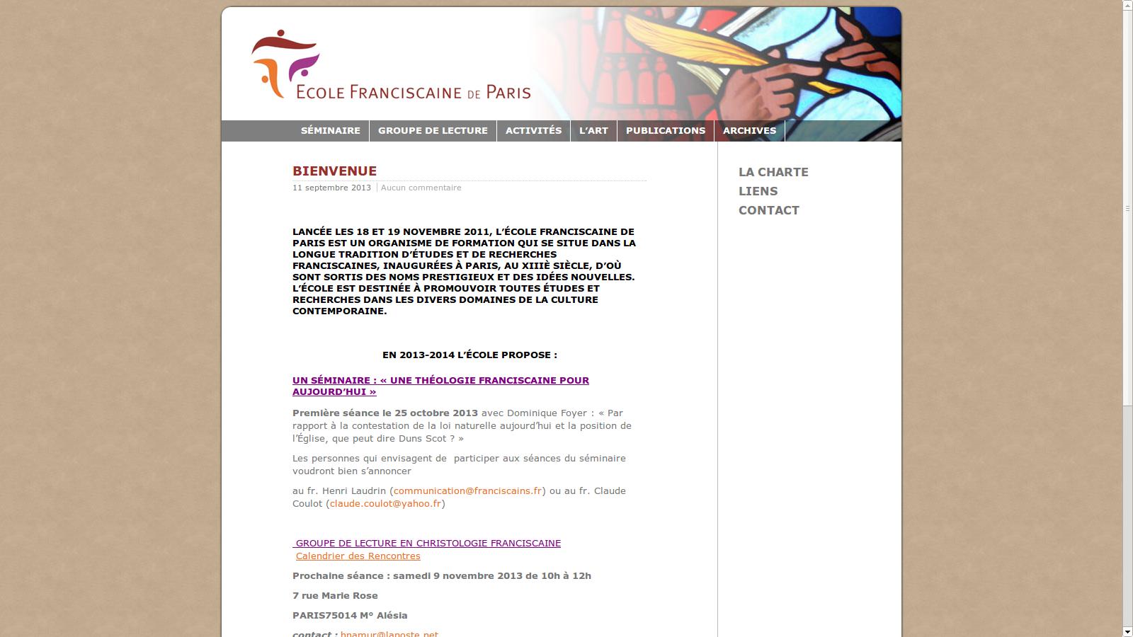 site internet Ecole Fransiscaine de Paris