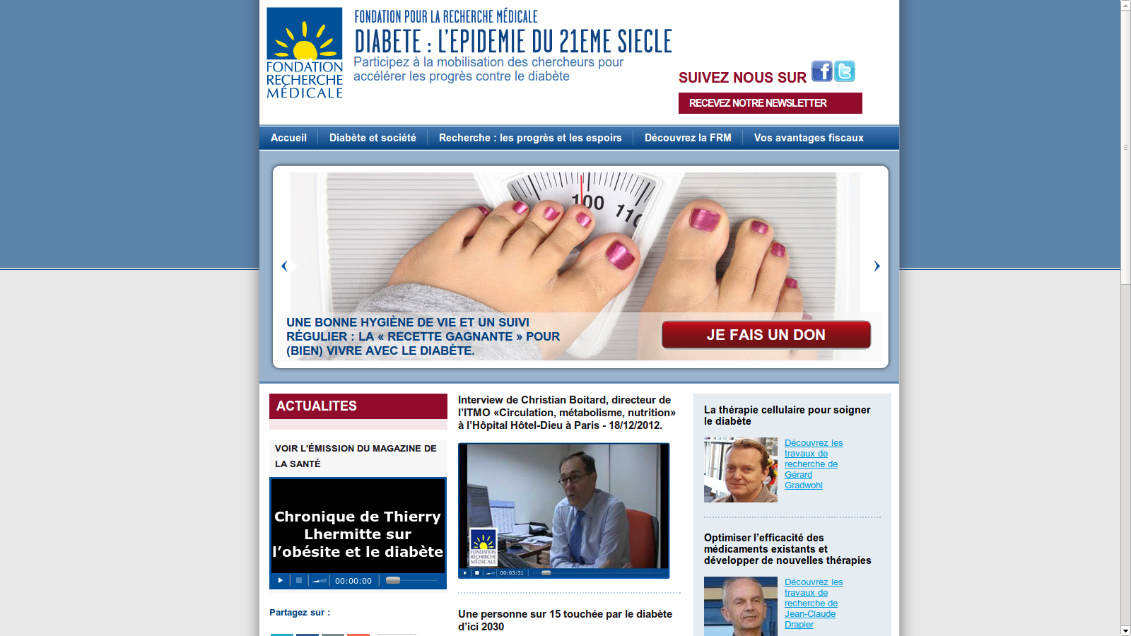site internet FRM : diabète